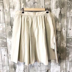 J Crew Cotton A Line High Waist Pleated Skirt
